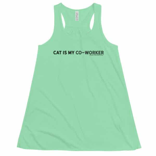 mockup 88471224 600x600 - CAT IS MY CO-WORKER Women's Flowy Racerback Tank