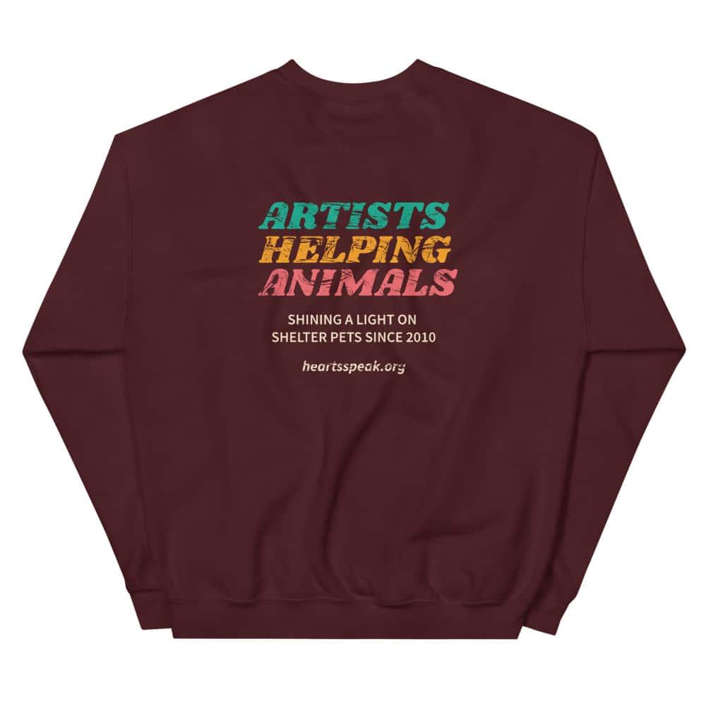mockup 87f2d691 - ARTISTS HELPING ANIMALS HeARTs Speak 10 Yr Anniversary 2 Sided Unisex Sweatshirt